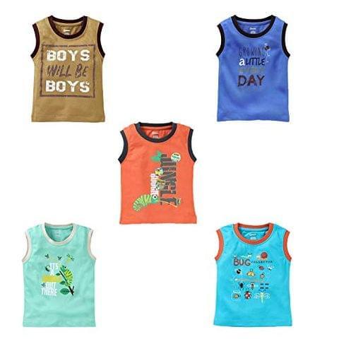 OHMS Boys Cotton Regular Sleeveless Vest T-Shirts Pack of 5