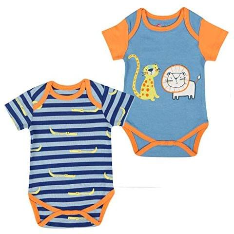 Charm n Cherish Baby Boy Short Sleeve Cotton Bodysuit (Pack of 2) (Multicolour_BB007)