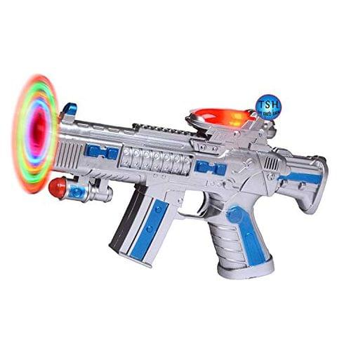 Toy Gun with LED Matrix Flashing Rotating Blades (Color May Vary)