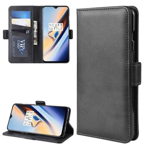 Dual-side Magnetic Buckle Horizontal Flip Leather Case for OnePlus 7, with Holder & Card Slots & Wallet & Photo Frame(Black)