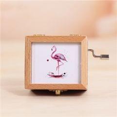 Flamingo Pattern Retro Style Wooden Hand Cranking Music Box Home Decoration