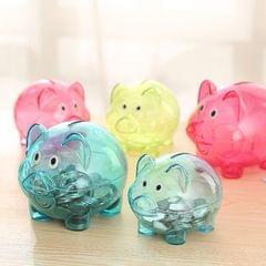 Transparent Plastic Money Saving Box Case Coins Piggy Bank Cartoon Pig Shaped, Size:10*7*8cm(Red)