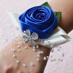 Handmade Wedding Bride Wrist Flower Boutonniere Bouquet Corsage Diamond Satin Rose Flowers(Blue)