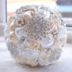 Wedding Holding Pearl Diamond Flowers Bridal Bouquet Accessories Bridesmaid Rhinestone Party Wedding Decoration Supplies, Diameter: 20cm