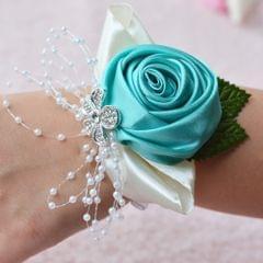 Handmade Wedding Bride Wrist Flower Boutonniere Bouquet Corsage Diamond Satin Rose Flowers(Green)