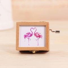 Dual Flamingos Pattern Retro Style Wooden Hand Cranking Music Box Home Decoration
