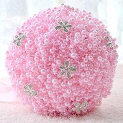 Wedding Holding Pearl Flowers Bridal Bouquet Accessories Bridesmaid Rhinestone Party Wedding Decoration Supplies, Diameter: 20cm(Pink)