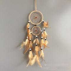 Home Decoration Retro Feather Dream Catcher Circular Feathers Wall Hanging Decor(Black)