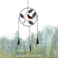Creative Wall Bird Design Wind Campanula Metal Chimes Ornaments Crafts Wind Chimes Round Bird Bells Household Adornment Wall Hanging, Random Color Delivery