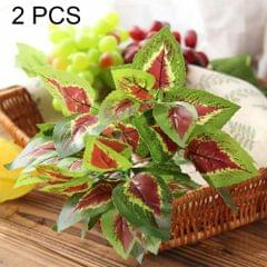 2 PCS Artificial Plants For Plastic Flowers Household Store Supplies Decoration Red Heart Leaf