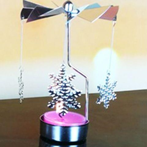 Christmas New Year Home Decoration Snowflake Pattern Metal Spinning Candle Holder