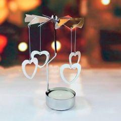 Christmas New Year Home Decoration Heart Pattern Metal Spinning Candle Holder