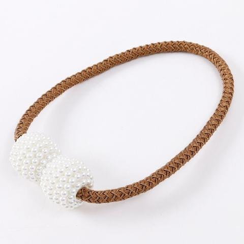 2 PCS Fashion Adornments Pearl Magnetic Buckle Curtain Strap(Coffee)