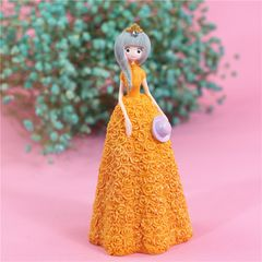 Pretty Skirt Girl Style Resin Crafts Ornaments Room Decoration, Size: 11*10*23.5cm (Yellow)