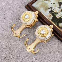 2 PCS Vintage Crystal Double Barb Curtain Decorative Wall Hook(Electrum)