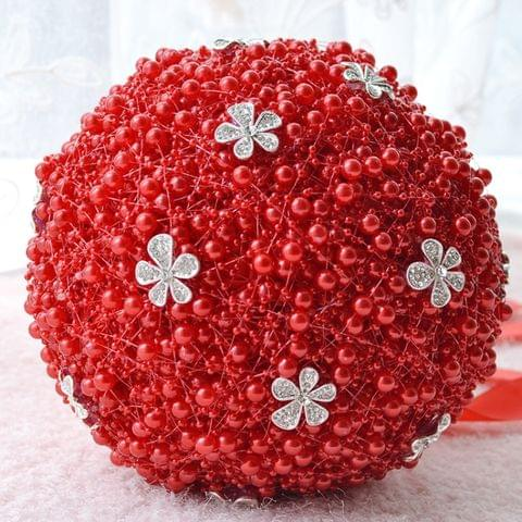 Wedding Holding Pearl Flowers Bridal Bouquet Accessories Bridesmaid Rhinestone Party Wedding Decoration Supplies, Diameter: 20cm(Red)
