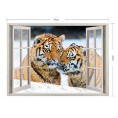 3D Tiger Window View Removable Wall Art Sticker, Size: 60 x 85 x 0.3 cm