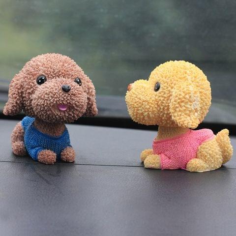 2 PCS Creative Resin Cartoon Shaking Head Cute Puppy Dog Ornaments Car Home Desk Art Decor Gifts