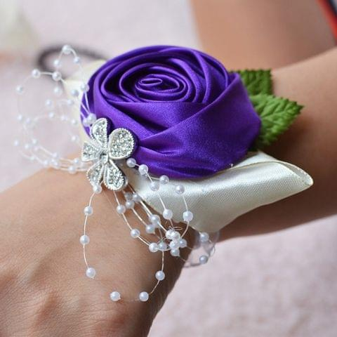 Handmade Wedding Bride Wrist Flower Boutonniere Bouquet Corsage Diamond Satin Rose Flowers
