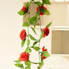 Simulation of Rattan Flowers Artificial Flowers Fake Simulation Champagne Rose Ivy Vine Hangings Garlands for Home Wedding Decoration, Length: 2.5m, Random Color Delivery
