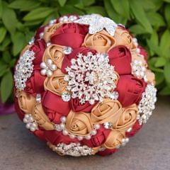 Wedding Holding Pearl Diamond Flowers Bridal Bouquet Accessories Bridesmaid Rhinestone Party Wedding Decoration Supplies, Diameter: 20cm(Red)