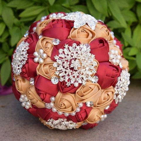 Wedding Holding Pearl Diamond Flowers Bridal Bouquet Accessories Bridesmaid Rhinestone Party Wedding Decoration Supplies, Diameter: 20cm(Red)
