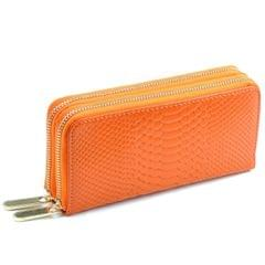 Women Long Wallet Genuine Leather Double Zipper Serpentine Embossing Clutch Bag Coin Purse Card Holder with Wristlet Strap(Orange)