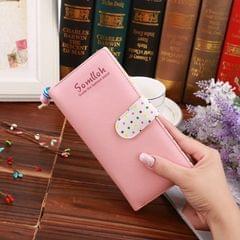 Fashion Dot Pattern 2-Folding Long Design PU Leather Zipper Wallet Coin Purse for Women(Pink)