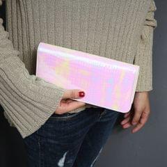 Stone Pattern Ladies Wallet Laser Long Wallet Zipper Student Clutch Bag Handbag(Pink)