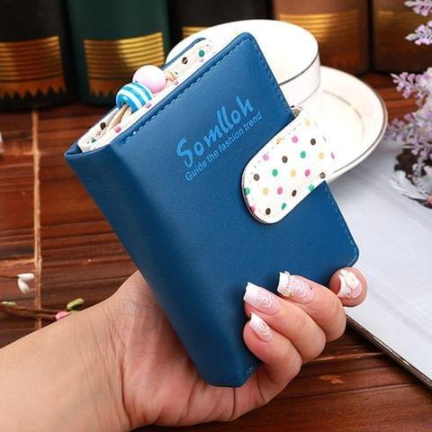 Fashion Dot Pattern 2-Folding Short Design PU Leather Zipper Wallet Coin Purse for Women(Dark Blue)