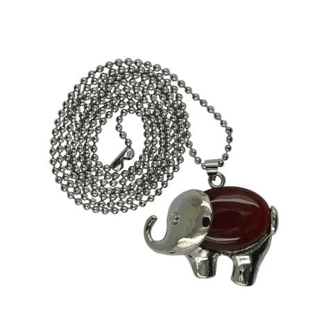 Eassycart Vintage Healing Chakra Red Agate Gemstone Elephant Pendant Necklace Long Chain Jewelry