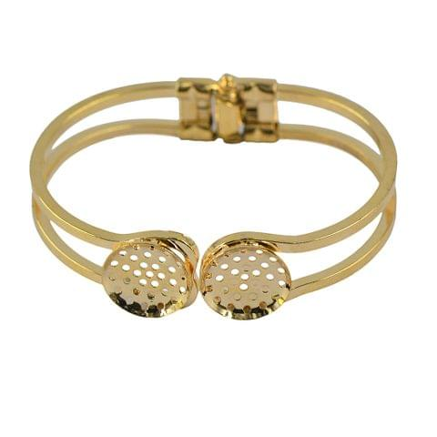 Eassycart Adjustable Blank Bangle Pad with 2 Blank Cabochon Bezel Settings DIY Gold
