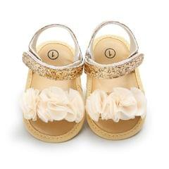Flowers Baby Girls Shoes Anti-slip Sandals Prewalkers Walking Shoes Beach Sandals, Baby Age:7-12 Months(Gold)