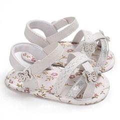 Soft Summer Baby Girl Sandals Toddler Prewalker Sole Kids Crib Shoes(White)