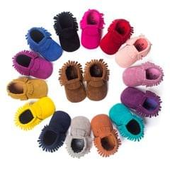 Newborn Baby PU Suede Moccasins Soft Shoes Fringe Soft Soled Shoes First Walker(Pink)