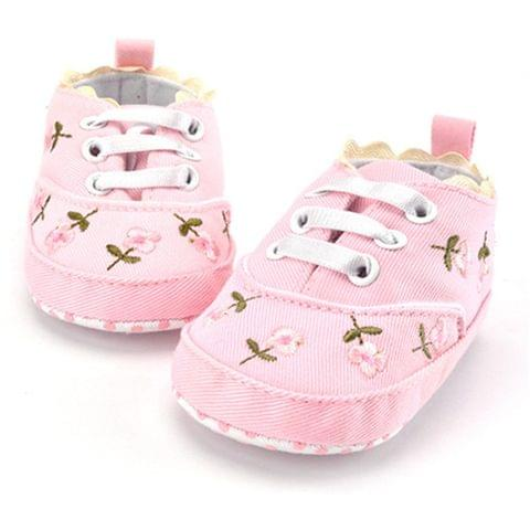 Baby Girl Shoes Lace Floral Embroidered Soft Shoes Walking Toddler Kids Shoes(Pink)
