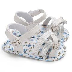 Soft Summer Baby Girl Sandals Toddler Prewalker Sole Kids Crib Shoes(Blue)