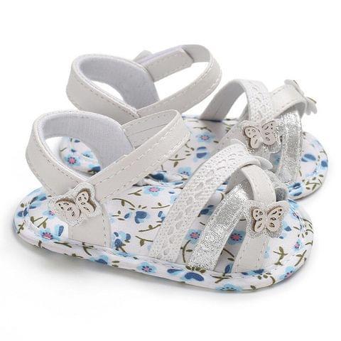Soft Summer Baby Girl Sandals Toddler Prewalker Sole Kids Crib Shoes(Blue)