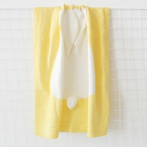 Rabbit Pattern Stereoscopic Ears Baby Knitted Blanket(Yellow)