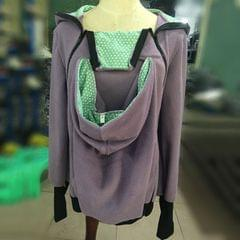 Three-in-one Multi-function Mother Kangaroo Zipper Hoodie Coat Size: XXL, Chest: 110-116cm, Waist:91-95cm, Hip: 116-123cm (Light Purple+Green)