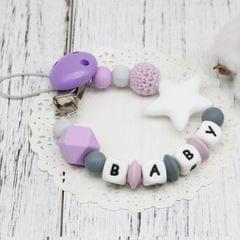 3 PCS  DIY Silicone Baby Pacifier Clip Colorful Pacifier Chain(Purple)
