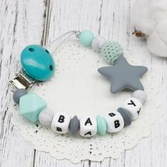 3 PCS  DIY Silicone Baby Pacifier Clip Colorful Pacifier Chain(Blue)