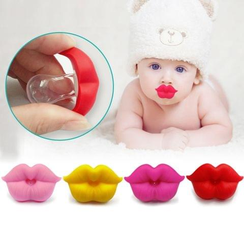 3 PCS Newborn Pacifier Red Lips Dummy Pacifiers Funny Silicone Baby Nipples Teether Soothers Pacifier(Yellow)