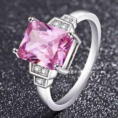 Elegant Temperament Square Gemstone Ladies Engagement Ring, Ring size:6(Pink)