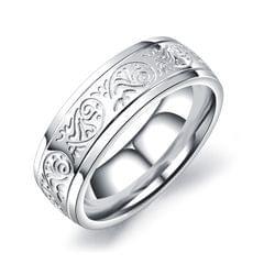 OPK Titanium Steel Flower Pattern Ring for Men (Color:Steel Color Size:10)