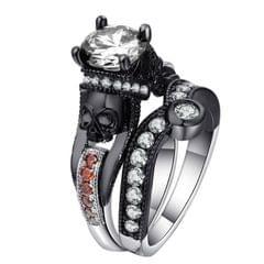 2 PCS Skull Ring Punk Style Fashion Jewelry, Ring Size:6(Red Plus White BL-B)