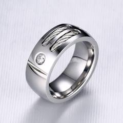 Europe and America Style Retro Men Ring Stainless Steel + Cubic Zirconia Steel Color Ring, Size: 12, Diameter: 21.5mm, Perimeter: 67.5mm