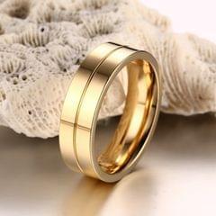 Fashion 18K Plating Men Golden Ring High Polished Stainless Steel Lovers Ring, Size: 9, Diameter: 19mm, Perimeter: 59.8mm