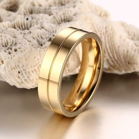 Fashion 18K Plating Men Golden Ring High Polished Stainless Steel Lovers Ring, Size: 9, Diameter: 19mm, Perimeter: 59.8mm