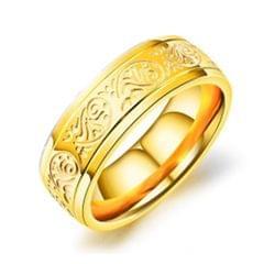 OPK Titanium Steel Flower Pattern Ring for Men (Color:Gold Size:8)